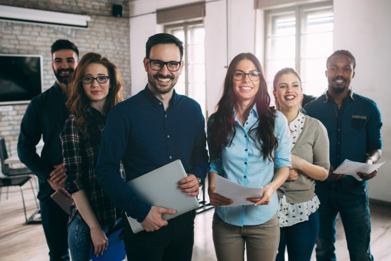 office workers looking forward